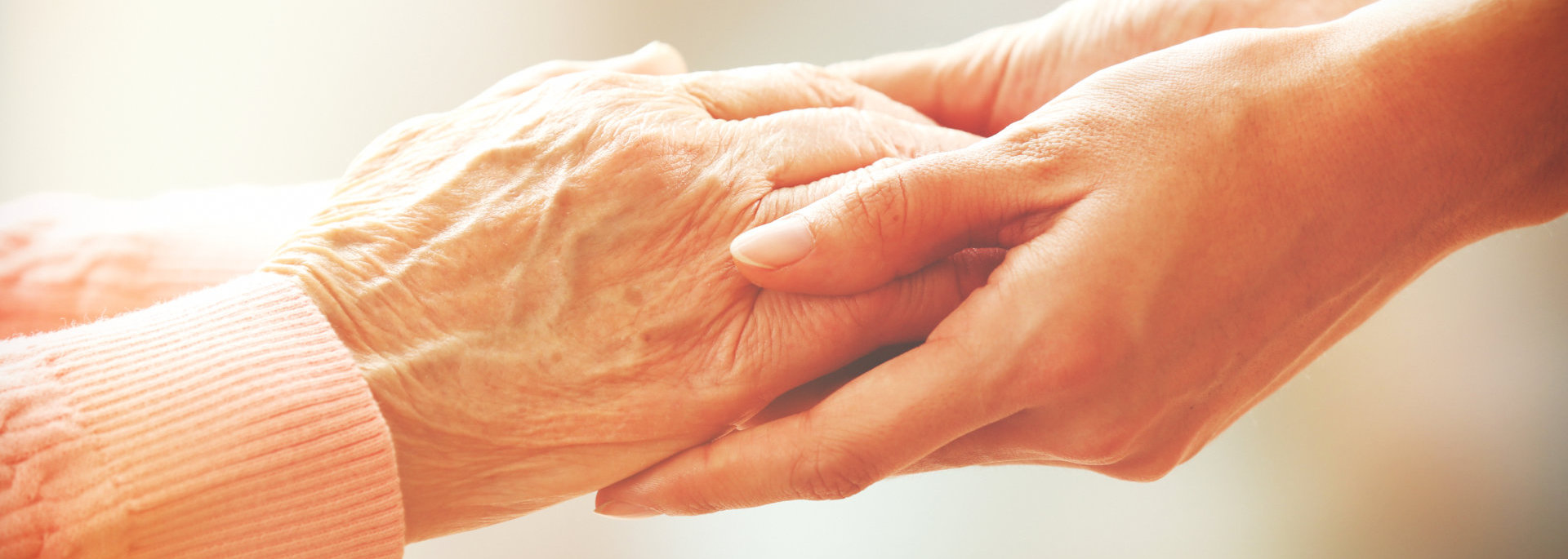 hand of adult and of an elder person
