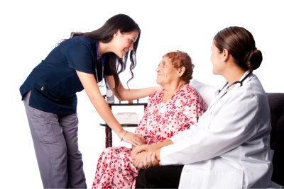 doctors and senior woman